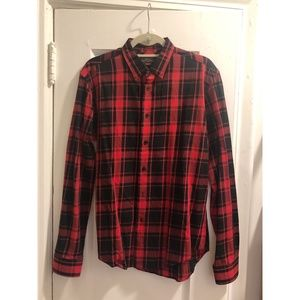 Men's Cotton Shirt in Red, Size M